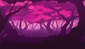 Безшовная предпосылка ландшафта с глубоким плоским лесом Сакуры Стоковое Изображение