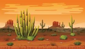 Безшовная предпосылка ландшафта с пустыней и кактусом Стоковые Изображения