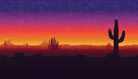 Безшовная предпосылка ландшафта с пустыней и кактусом Стоковое Изображение