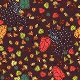 Безшовная предпосылка вектора листьев осени Стоковые Изображения