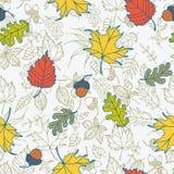 Безшовная предпосылка вектора листьев осени Стоковое Изображение