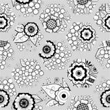 Безшовная предпосылка вектора полигонов с флористическими элементами Стоковые Фотографии RF