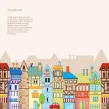 Безшовная предпосылка вектора с красочными домами Стоковое Изображение