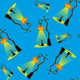 Безшовная предпосылка вектора с элементами дизайна: лампы тыквы хеллоуина и черный кот на голубой предпосылке Стоковые Изображения RF