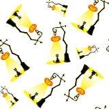 Безшовная предпосылка вектора с элементами дизайна: лампы тыквы хеллоуина и черный кот на белой предпосылке Стоковые Фото