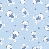 Безшовная предпосылка голубого младенца с плюшевым медвежонком и  Стоковые Фото