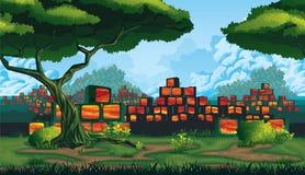 Безшовная предпосылка - зеленая земля, scrapyard ТВ пирамид ретро Стоковое фото RF