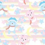 Безшовная предпосылка иллюстрации дня рождения с милым младенцем носит на предпосылке голубой нашивки соответствующей для обоев,  иллюстрация штока