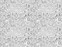 Безшовная предпосылка картины вечеринки по случаю дня рождения Doodle Стоковое фото RF