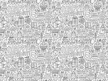 Безшовная предпосылка картины вечеринки по случаю дня рождения Doodle Стоковые Фотографии RF