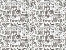 Безшовная предпосылка картины вечеринки по случаю дня рождения Doodle Стоковое Фото