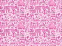 Безшовная предпосылка картины вечеринки по случаю дня рождения Doodle Стоковые Изображения