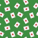 Безшовная предпосылка картины костюма диамантов играя карточек Стоковая Фотография RF