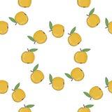 Безшовная предпосылка картины с желтыми яблоками Стоковое Изображение RF