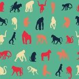 Безшовная предпосылка картины с обезьянами Стоковые Изображения RF