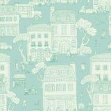 Безшовная предпосылка картины также вектор иллюстрации притяжки corel Городская улица в европейском городе Идти людей, жилой Стоковое Изображение