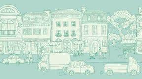 Безшовная предпосылка картины также вектор иллюстрации притяжки corel Городская улица в историческом европейском городе Идти люде Стоковые Изображения RF