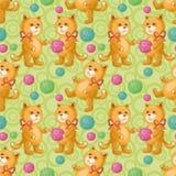 Безшовно, кот с шариком пряжи шерстей Стоковая Фотография