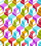 Безшовная предпосылка кубов в стиле grunge Стоковые Фото