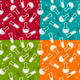 Безшовная предпосылка - пробирки и склянки Стоковая Фотография