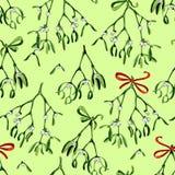 Безшовная предпосылка рождества акварели с омелой и красной лентой Стоковая Фотография RF