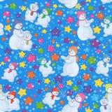 Безшовная предпосылка рождества с снеговиками Стоковая Фотография RF