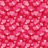 Безшовная предпосылка сердец влюбленности в пинке и красном цвете Стоковое Изображение