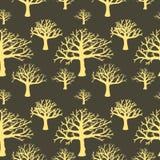 Безшовная предпосылка силуэтов деревьев Стоковая Фотография RF