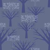 Безшовная предпосылка, силуэты деревьев Стоковая Фотография