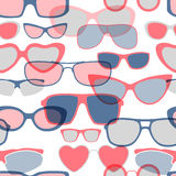 Безшовная предпосылка солнечных очков - синь и красный цвет Стоковое Изображение RF