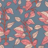 Безшовная предпосылка с ветвями и листьями Стоковое фото RF