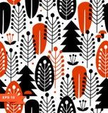 Безшовная предпосылка с декоративными деревьями Стоковая Фотография RF
