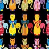 Безшовная предпосылка с декоративными элегантными котами бесплатная иллюстрация