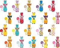 Безшовная предпосылка с декоративными элегантными котами иллюстрация штока