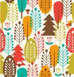 Безшовная предпосылка с деревьями Стоковое Изображение