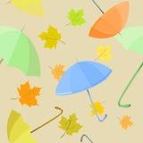 Безшовная предпосылка с зонтиком и листьями Стоковые Изображения RF