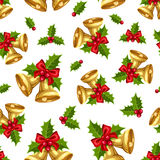 Безшовная предпосылка с золотыми колоколами рождества также вектор иллюстрации притяжки corel Стоковая Фотография RF