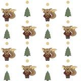 Безшовная предпосылка с лисами и елью Стоковое Изображение RF