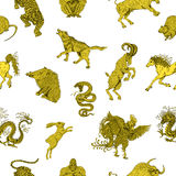 Безшовная предпосылка с китайскими животными зодиака на белизне Стоковые Изображения RF