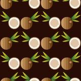 Безшовная предпосылка с кокосами Стоковая Фотография RF