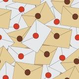 Безшовная предпосылка с конвертами писем Стоковое Фото