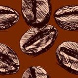 Безшовная предпосылка с кофейными зернами Стоковая Фотография RF