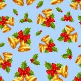 Безшовная предпосылка с колоколами рождества золота на сини также вектор иллюстрации притяжки corel Стоковые Изображения
