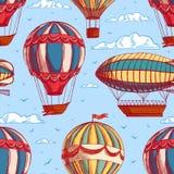 Безшовная предпосылка с красочными воздушными шарами и дирижаблями иллюстрация штока