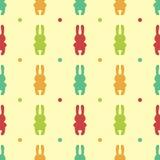 Безшовная предпосылка с кроликами шаржа Симпатичные обои восточно иллюстрация штока