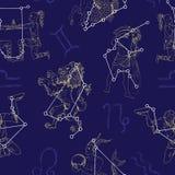 Безшовная предпосылка с Лео, водолеем, козерогом и близнецами Стоковые Фото