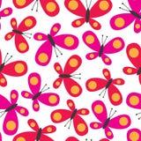 Безшовная предпосылка с милым вектором дизайна бабочки Стоковое Фото
