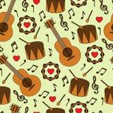 Безшовная предпосылка с музыкальными инструментами Стоковые Фотографии RF