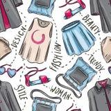 Безшовная предпосылка с одеждой женщин иллюстрация штока