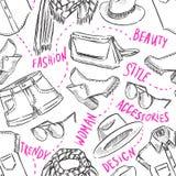 Безшовная предпосылка с одеждой женщин Стоковая Фотография RF